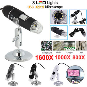 Details about 1600X 8LED Handheld Endoscope USB Biological Microscope  Digital Zoom with Stand