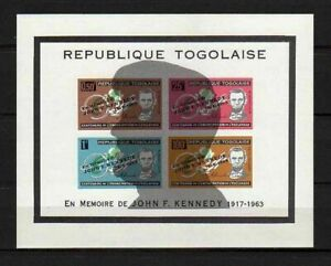 10597) Togo 1964 Scott #C41 Ovptd With Silhouette S/S MNH J.F.Kennedy