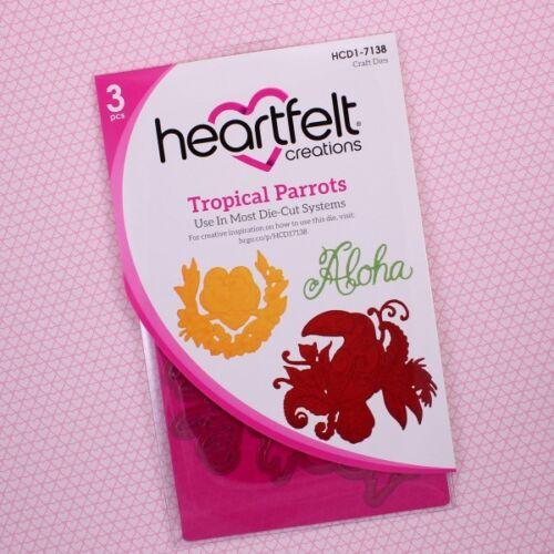 HCD1-7138+HCPC3784 Lot Set Heartfelt Creations Dies+Stamps ~ Tropical Parrots