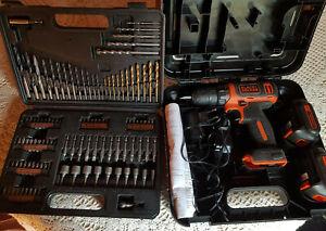 Black + Decker Visseuse Perceuse sans fil 10,8V + 2 batteries + forets douilles