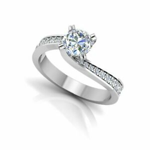 0.57 Ct Round Solitaire Moissanite Anniversary Ring 14K Solid White Gold Size 9