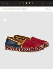 Gucci Leather Espadrille - Red Size 9 $570 In Stores BNWB