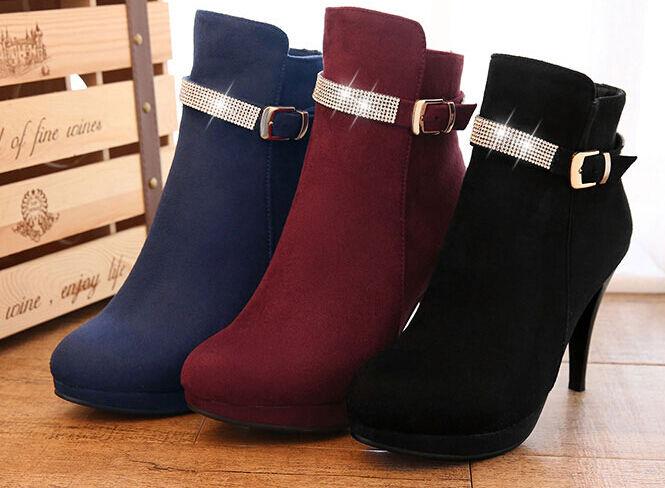 Botines botas zapatos militares mujer talón 9.5 como piel cómodo caldi 9118