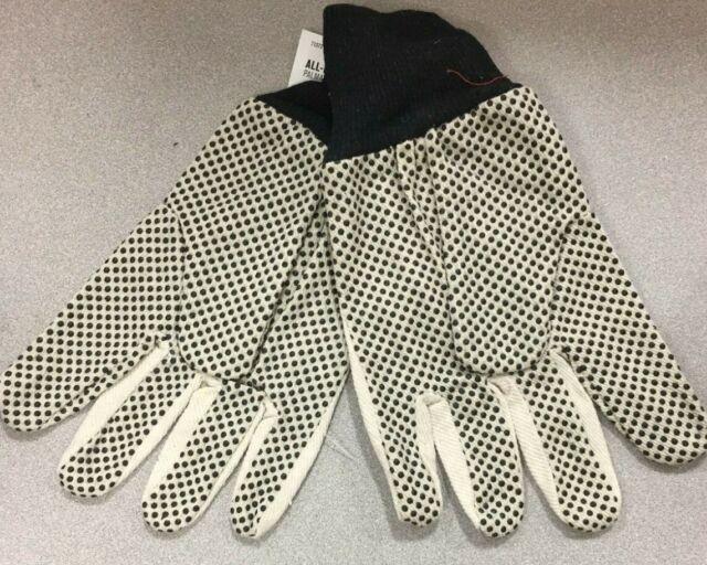 Men's Indoor/Outdoor Canvas Dotted Grip Gloves White L