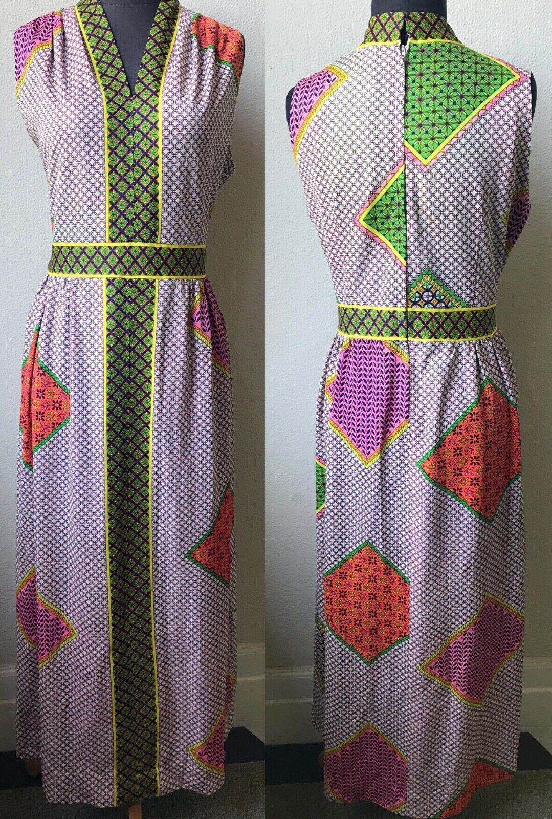 60's Really Cute Patchwork Mod Look Summer Maxi D… - image 1