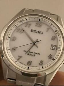 Seiko-Date-Stainless-Steel-Used-Solar-Mens-Watch-Authentic-Working