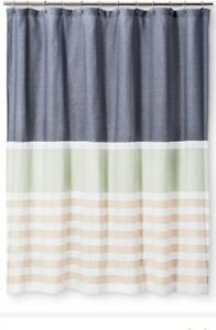 Image Is Loading Threshold Textured Stripes Shower Curtain Indigo Blue Green