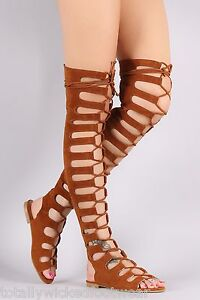 performance sportswear super cheap quality design Cape Camel Brown Open Lace Up Front Thigh High Gladiator Sandals ...
