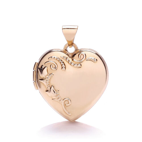 375 Fully 2 Pictures Gold Rose Hallmarked Heart Holds 9ct Locket HBr6qHO
