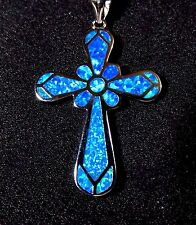 """Sterling 925 Silver SF Pendant & Necklace Blue Lab Fire Opal Large 1 1/2""""  CROSS"""