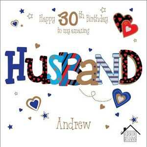 Image Is Loading Personalised 30th Birthday Card Husband Boyfriend Any Age