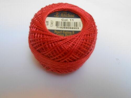 ANCHOR perle 8 coton 10g brûlée couleur rouge numéro 11