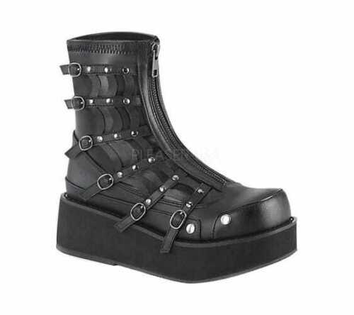 Women/'s Demonia Sprite 100 Platform Ankle Boot Black Vegan Leather//Stretch Size