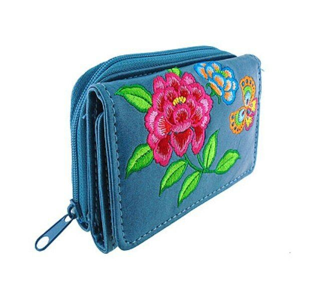 LAVISHY PEONY BUTTERFLY EMBROIDER SMALL WALLET VEGAN FAUX LEATHER NEW(97-056Red)