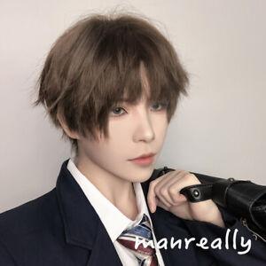 Men S Brown Short Hair Kakkoii Harajuku Kawaii Fashion Korean Boys Cosplay Wig Ebay