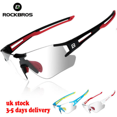 UK ROCKBROS Photochromic Cycling Sunglasses Running Sports Eyewear UV400 Glasses