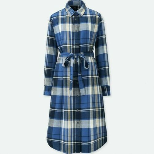 Uniqlo Blue Plaid Shirtdress Size Large