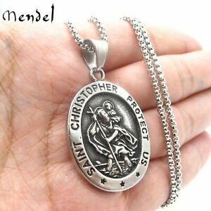 MENDEL Mens St Saint Christopher Medal Pendant Necklace Stainless Steel Amulet