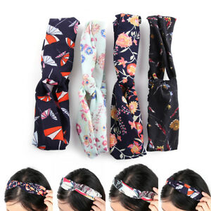 Women-039-s-Hairband-Yoga-Elastic-Floral-Hair-Band-Headband-Turban-Twisted-Knotted