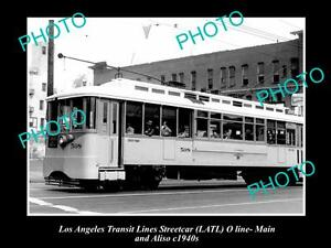 OLD-LARGE-HISTORIC-PHOTO-OF-LOS-ANGELES-TRANSIT-LINES-STREETCAR-CAR-508-c1940s