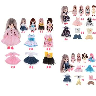 Sweet Girl Doll Dress Clothes Shoes Suit 1//12 BJD Casual Matching Outfits DIY