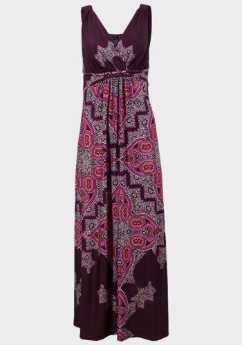 Designer Maxikleid Boho Paisley M 38 40 NEU Luxus Elegant Farbbrillanz Pink Lila
