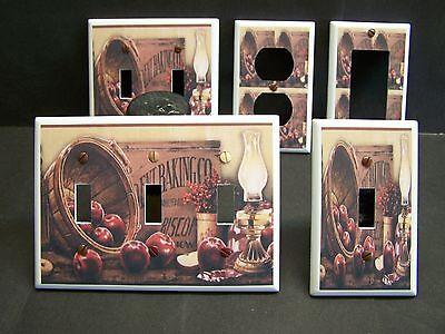 APPLES IN BASKET OIL LAMP KITCHEN DECOR LIGHT SWITCH OR OUTLET COVER V519