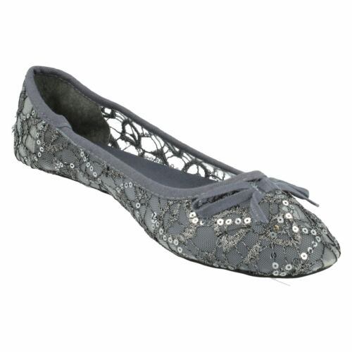 Ladies Spot On Casual Flat Sequin Dolly Shoe Label-F8R0085