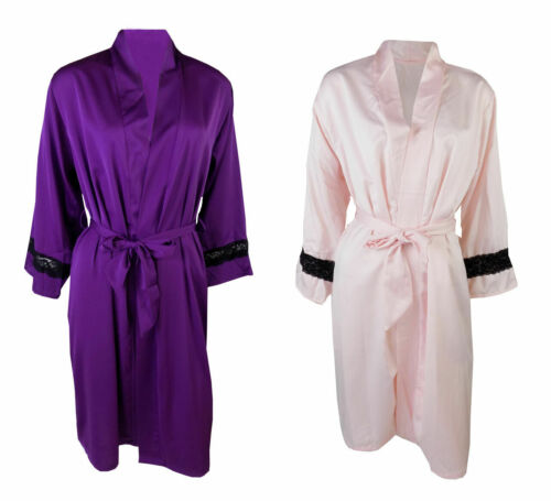 Nuevo Damas Ex M /& S Satén De Lujo Bata Bata Talla 10-18 rosa o púrpura