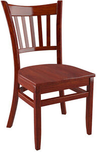 Premium US Made Vertical Slat Side Restaurant Chair Mahogany Finish Wood Seat