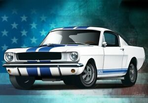 Print on canvas 1965 Ford Mustang Shelby GT350 by Dutch artist Ron de Haer