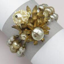 Vtg Signed Miriam Haskell Baroque Pearl 2-color 3 Strand Glass Bead Bracelet