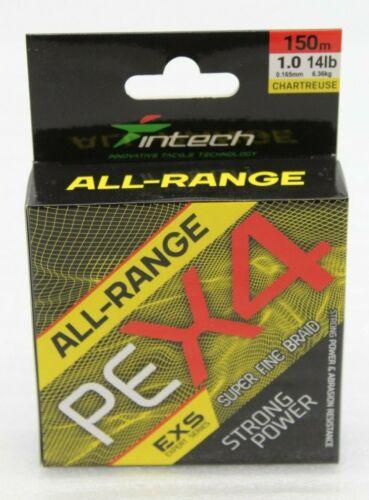 Intech All-Range PEX4 Angelschnur 150m 0,128mm 4,45kg EXS Expert Series NEU