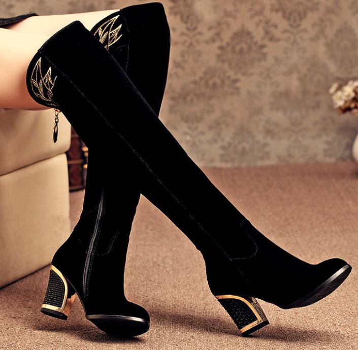 Bordado de moda para para para mujer de taco de bloque de Punta rojoonda Cremallera Lateral sobre la rodilla botas altas  mejor oferta