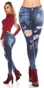 Jeans Trousers Skinny Used Look With Masks Patches And Rhinestone