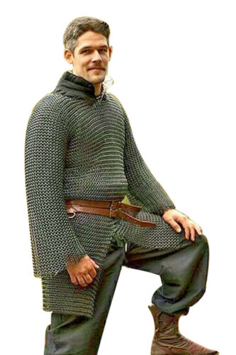 MEDIEVAL CHAINMAIL SHIRT HAUBERK ARMOUR MILD STEEL 10MM BUTTED ARMOR COSTUMES