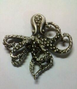 Broche pieuvre métal argenté