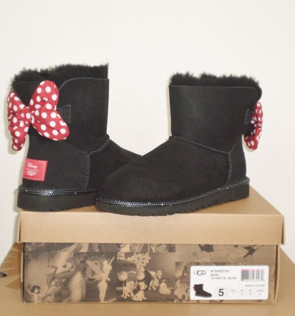 UGG Women's DISNEY SWEETIE BOW Boot LIMITED EDITION 5US BLACK SUEDE NIB