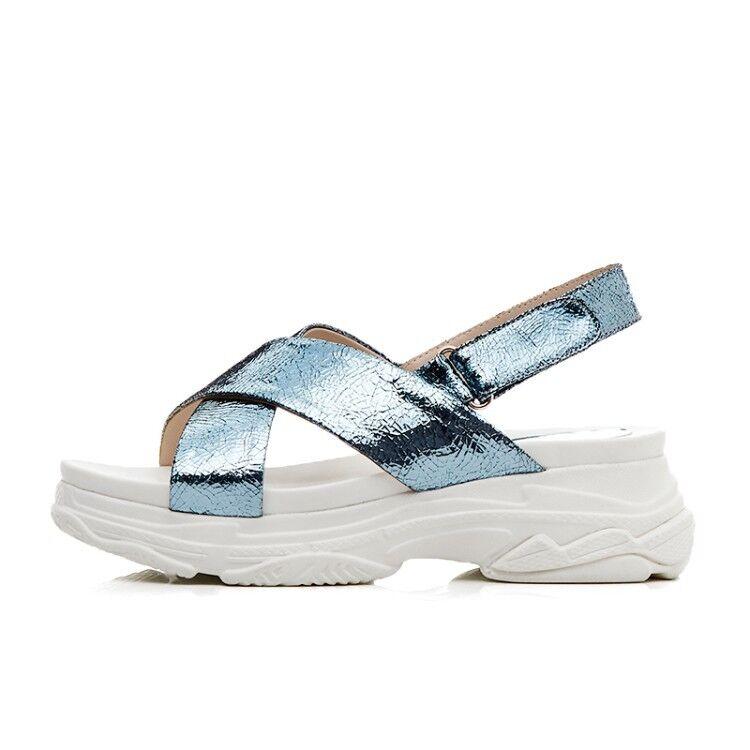 Korea Style Womens Metallic Peep Toe Cross Buckle Buckle Buckle Strap Wedge Heels Sport Sandal 784bc4