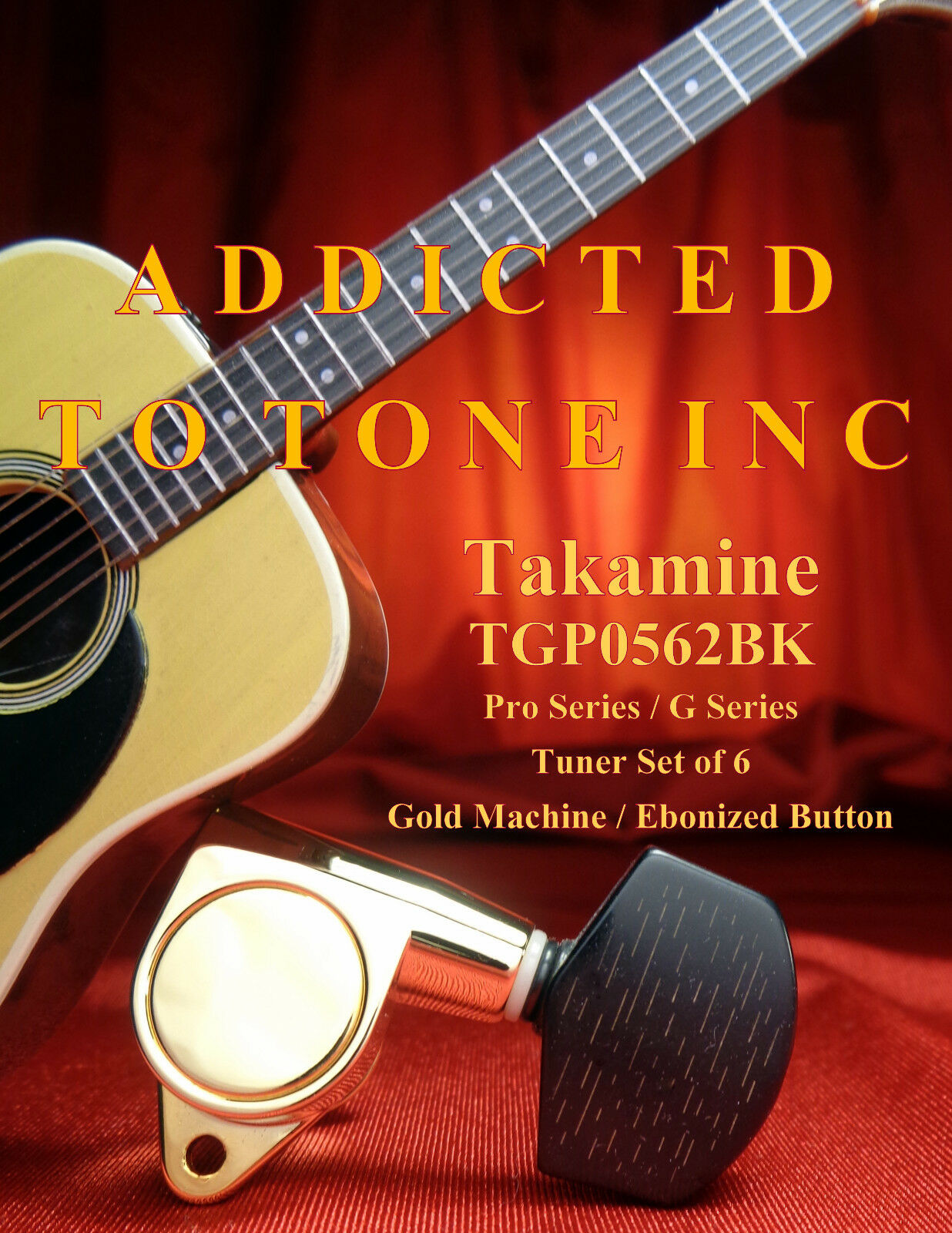 Takamine Acoustic Guitar Tuner TGP0562BK   Gold with Faux Wood Button   OEM Part