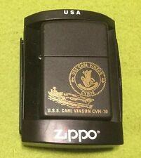 ZIPPO ~ USS Carl Vinson CVN-70 ~ In Case ~ Flat Black ~ Case ~ Paper Work