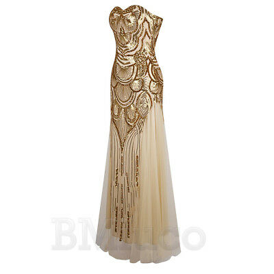 1920s Flapper Dress Gatsby Cocktail Party Long Evening Prom Bridesmaid Dresses