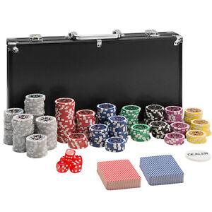 Pokerkoffer Pokerset 300 Chips Laser Pokerchips Poker Set Jetons Alu Koffer Silb