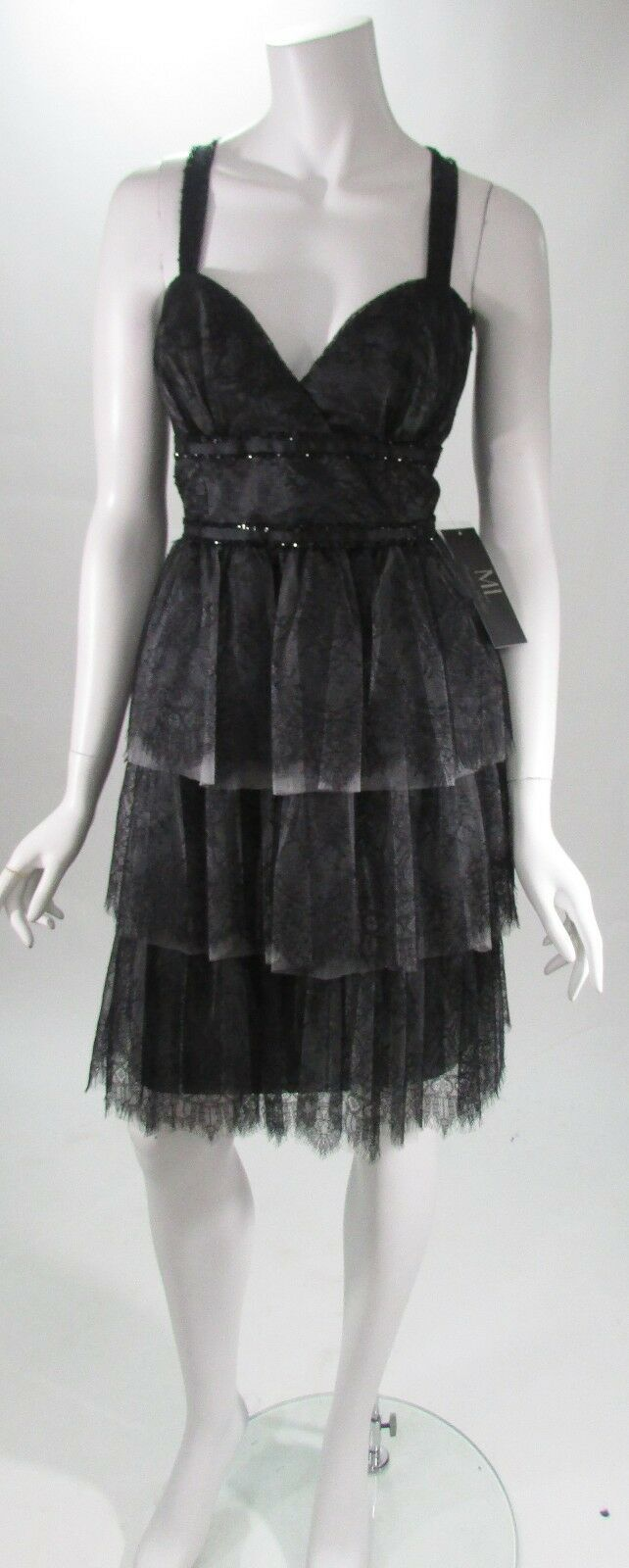 ML Monique Lhuillier Black Lace Bead Sweetheart Tiered Cocktail Dress Sz 12 NWT