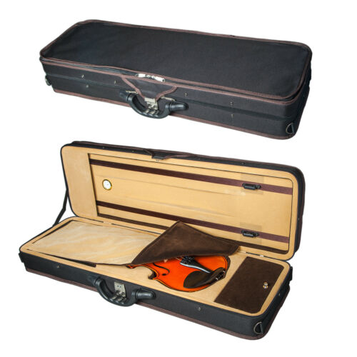 New Violin 4/4 Full Size Oblong Case Lightweight Black/Champagne