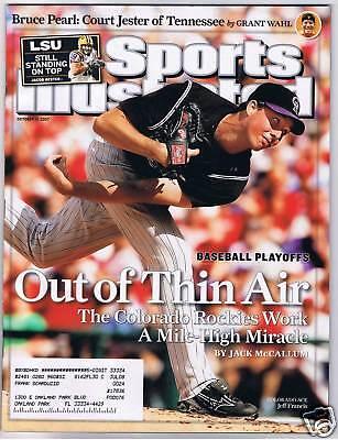 October 15 2007 Jeff Francis Colorado Rockies Sports Illustrated NO LABEL