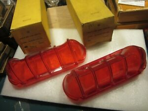 PAIR NORS GLO-BRITE 1961 BUICK LE SABRE RED BRAKE TAIL LIGHT LENS