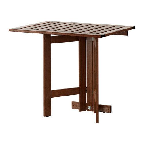 SPACE SAVING IKEA ÄPPLARÖ Gateleg table for wall outdoor braun stained 80x56cm