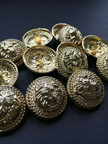 ** Knöpfe.Buttons.Lion.Gold.Mantelknöpfe.Jackenknöpfe.Tasten Löwenkopf ** 10 st