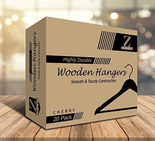 20 Pack Wooden Wood Clothes Hangers Durable Coat Suit Dress Pants Hangers Walnut